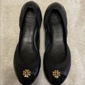 Tory Burch Black Leather Ballet Flat